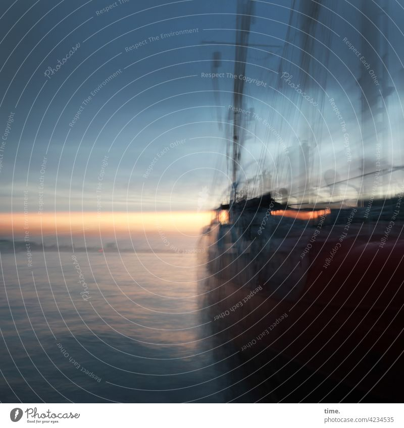 ... and a bottle of rum Sailing ship Evening Water boat Movement Tremble Harbour harbour basins Damp Wet Maritime evening sky Sunset Elbe yachtsmen Sky