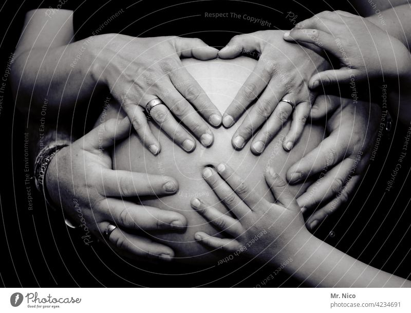 family happiness Pregnant Baby Baby bump Hand Love Mother Stomach Skin Fingers Happy Touch Anticipation Safety (feeling of) Responsibility Birth
