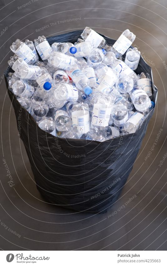 Plastic bottles in the garbage bag plastic waste Environmental pollution Trash Recycling Plastic packaging Disposal Packaging Environmental protection