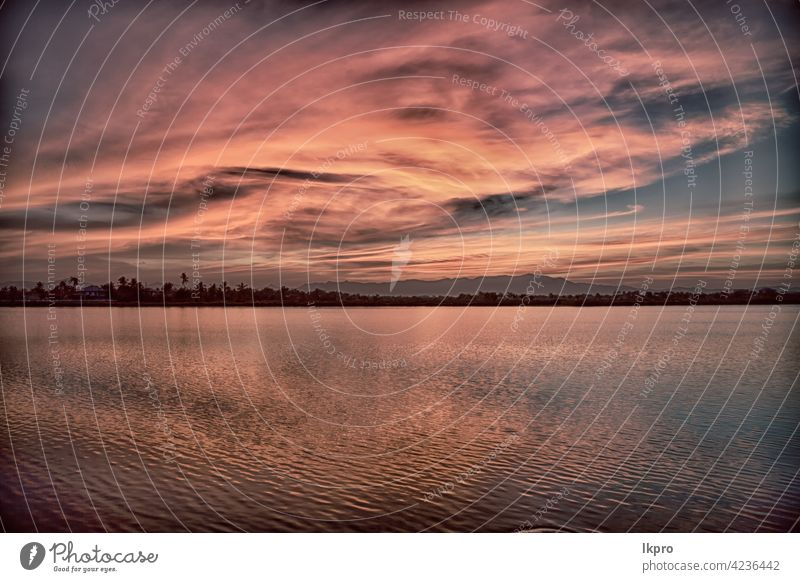 view from water of the sunrise full of  colors sunset pink red sky sea horizon white summer landscape nature background beautiful reflection ocean sunlight