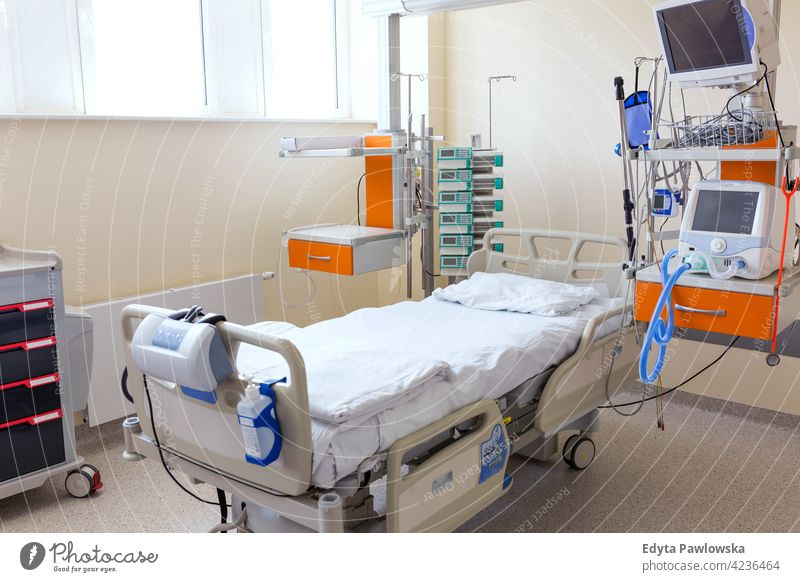 Shot of an empty hospital room bed healthcare medicine indoors equipment clinic recovery help medical patient ward therapy no-one nobody no people absence