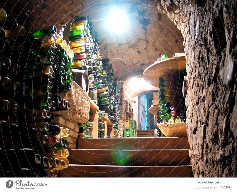 All empty... Wine cellar Dark Light Lamp Wine cask Crate Bottle of wine Basket Basketball basket Agriculture Historic Floodlight Stairs Arch Stone candle arc