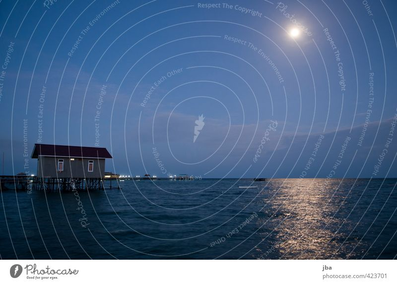 Moon over Derawan Well-being Relaxation Calm Vacation & Travel Tourism Far-off places Summer Summer vacation Ocean Island House (Residential Structure) Nature