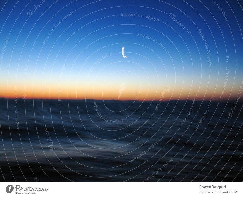 tsunami ... or what? Ocean Blue Sunrise Long exposure Waves Croatia Sky Moon light transition Sailing sea time exposure holiday
