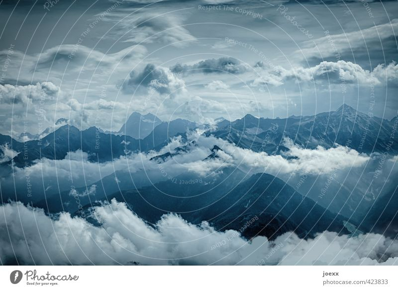 skyscrapers Mountain Sky Clouds Climate Beautiful weather Alps Peak Gigantic Infinity Tall Blue Gray Black White Horizon Style Environment Colour photo