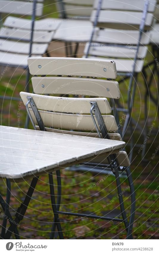 Garden chair in the rain, folded Chair Wet Rain Beer garden beer garden set beer garden furniture Table Garden table chairs out Gastronomy Deserted