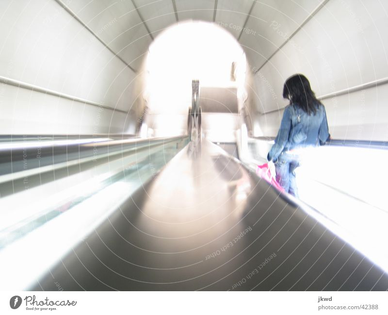 Woman Style Bright Architecture Speed Modern Logistics Tunnel Underground Spain Downward Subsoil Means of transport Escalator