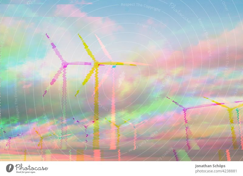 renewable energy sustainably generated with wind turbines glitch effect Windmill Wind power station Wind energy plant White Sustainability Technology Sun Summer