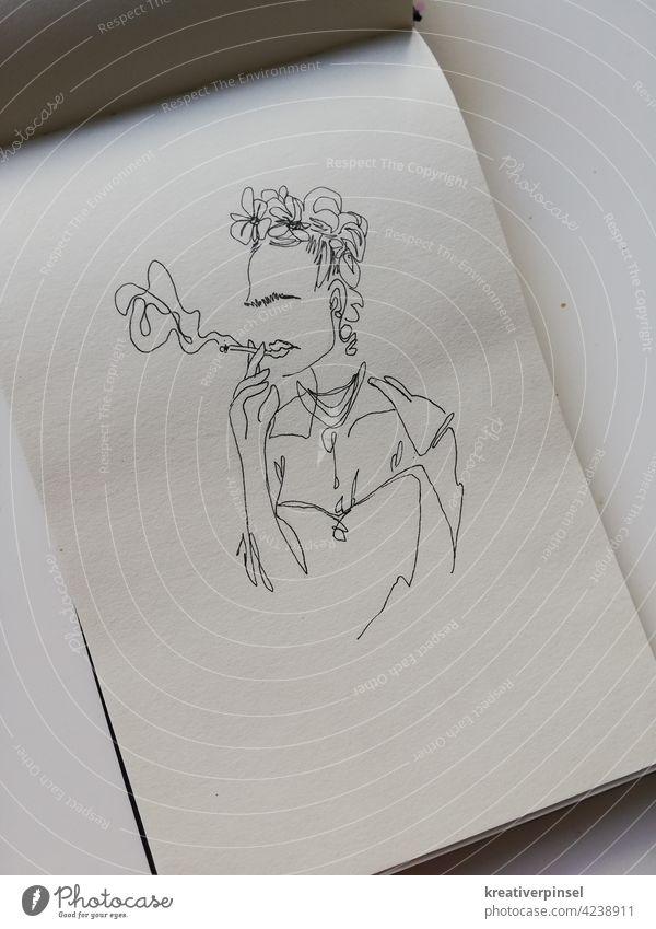 Frida Art Woman happy portrait Ashes Feminine feminist Smoking Unhealthy Addiction Tobacco Smoke Cigarette Harmful to health Cigarette smoke sketch sketchbook
