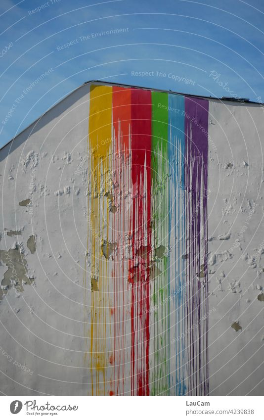 Rainbow waterfall on a dilapidated house wall Colour Prismatic colors painting Prismatic colour Blue Yellow Red Green Orange purple Multicoloured Spectral
