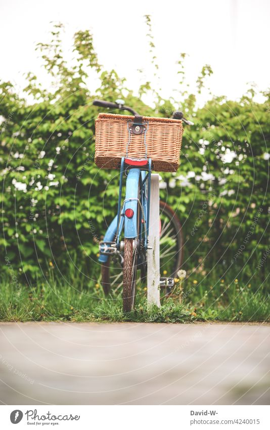 a parked bicycle with basket Bicycle bicycle basket turned off Parking Nature Wheel Cycling tour Means of transport Leisure and hobbies Basket