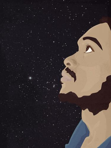 Man staring at the nightsky dreamily man african ethnicity beard dreaming wishing hoping stars wishing on a star hope idealist future Stars Starry sky Night sky