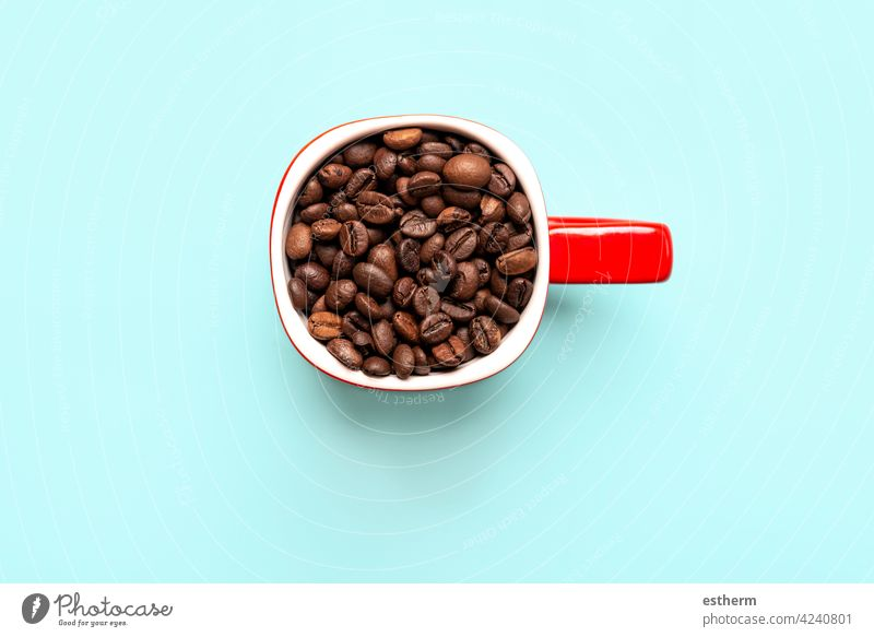top view of red cup with coffee beans filter cafeteria grain kitchen lifestyle ground coffee coffee powder saucer porcelain caffeine close organic break