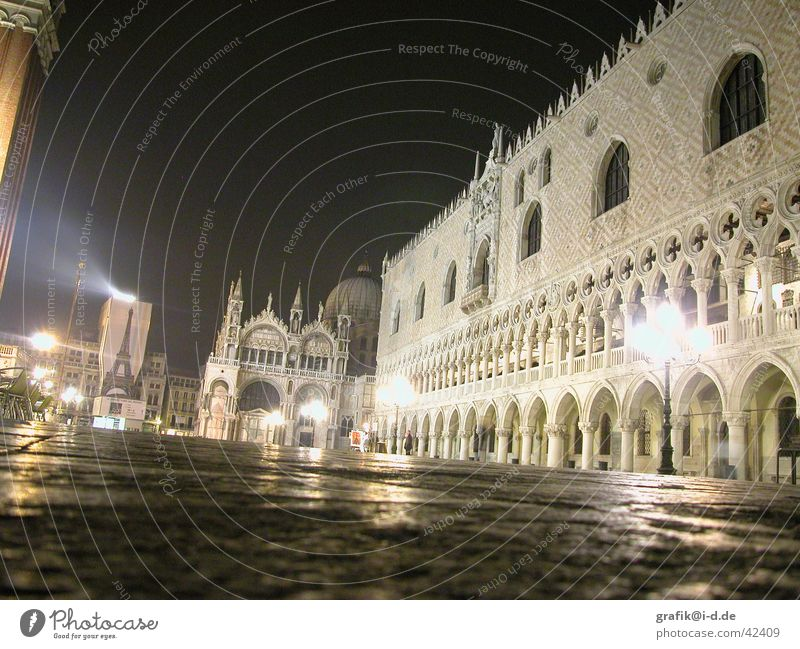 s. marco at night Venice St. Marks Square Light Lamp Basilica San Marco Architecture Venezia s.marco Doge's Palace at night Floodlight Religion and faith