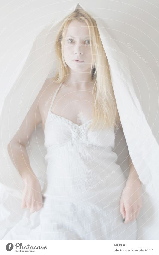 spirit Human being Feminine Woman Adults 1 18 - 30 years Youth (Young adults) Clothing Dress Headscarf Blonde Long-haired Creepy Bright White Ghosts & Spectres