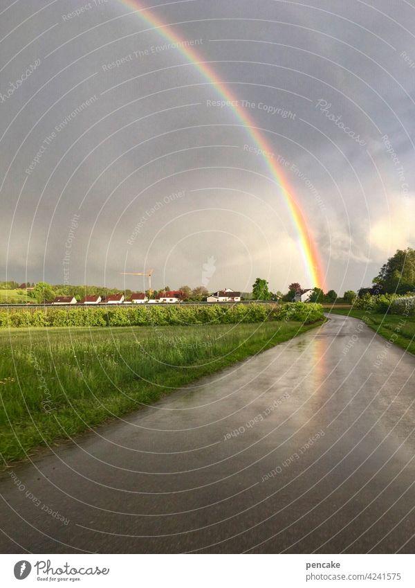 Between heaven and earth Weather Phenomenon Rainbow Sky Earth Bridge Prismatic colors Hope symbol treasure hunt Belief Homosexual Freedom Clouds