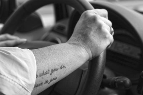 Strong arm on the steering wheel Road traffic Steering wheel Woman stop To hold on Hand car Motor vehicle Motoring Transport Driving Speed Highway