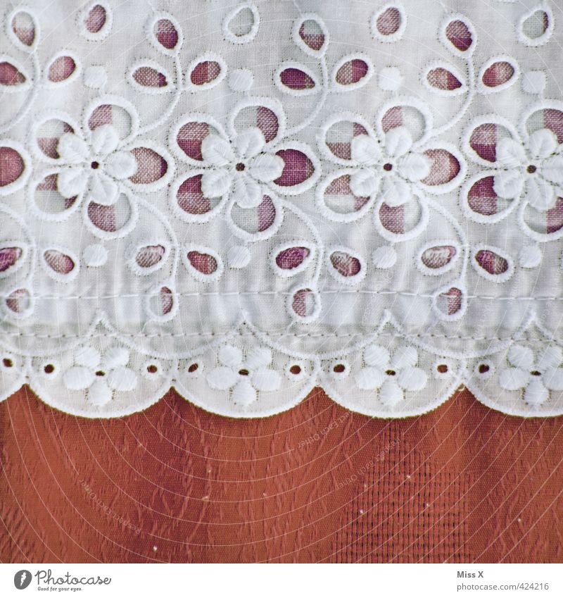 doily Decoration Clothing Red Flowery pattern Lace Handcrafts Sewing Checkered Cloth pattern Drape Tablecloth Stitching Ornament Colour photo Close-up Detail