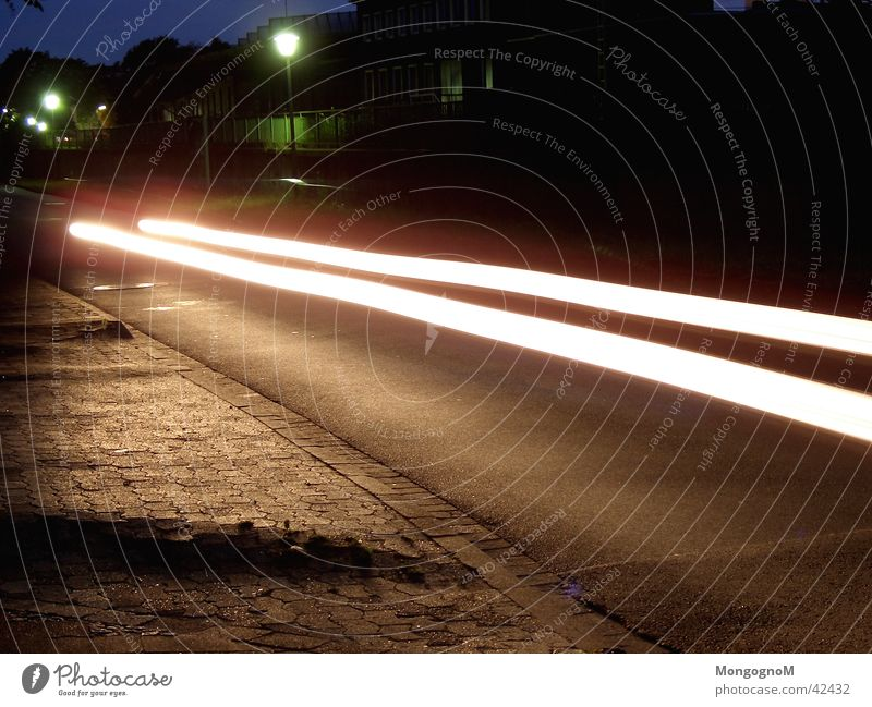 speed Night Long exposure Speed Light Strip of light Car Street