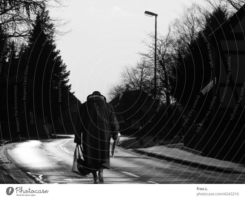 Almost home Photomontage on one's own Human being Degersen Woman Village Hat Going Crooked Montage Lonely Handbag Coat Street Country road houses trees