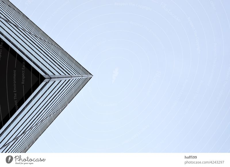 Corner from below - high-rise nose Abstract Architecture Facade Worm's-eye view Sharp-edged Line Modern Design Structures and shapes Building Esthetic Style