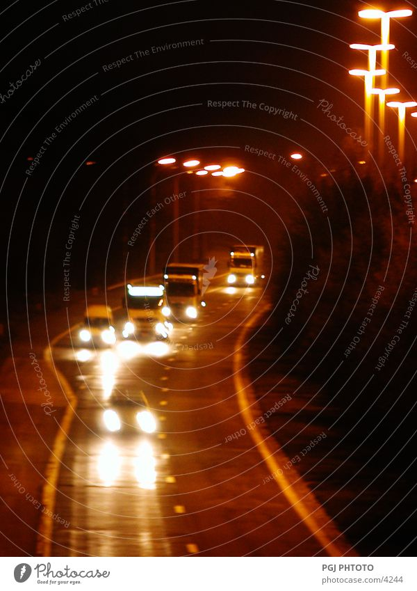 night traffic Night Transport Highway In transit Car Truck Street Lighting Vacation & Travel