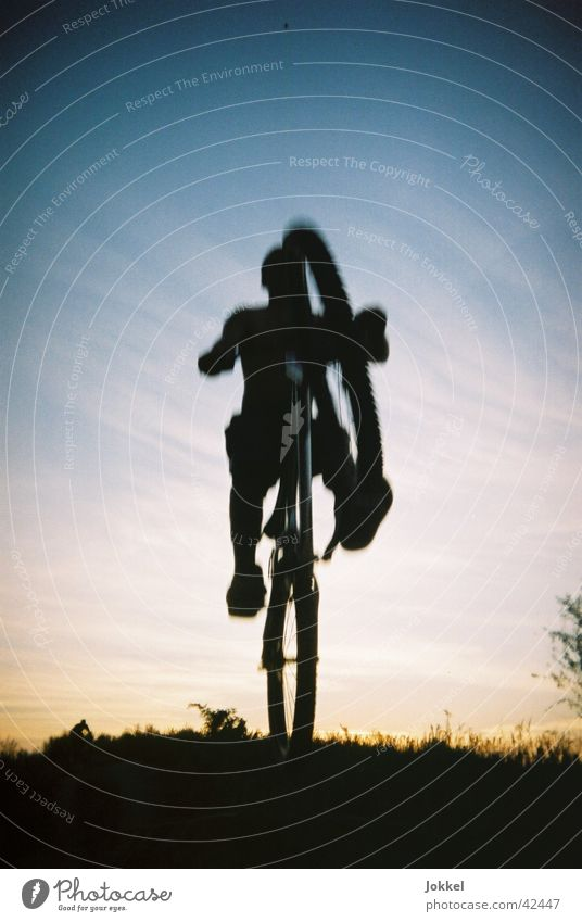 Human being Sky Youth (Young adults) Jump Bicycle Beautiful weather Cycling Mountain bike Trick Young man Extreme sports