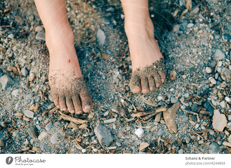 Barefoot on the riverbank feet Sand pebbles Lake River Ocean Pebble vacation Family Beach Feet Vacation & Travel Relaxation Summer Legs Exterior shot Toes