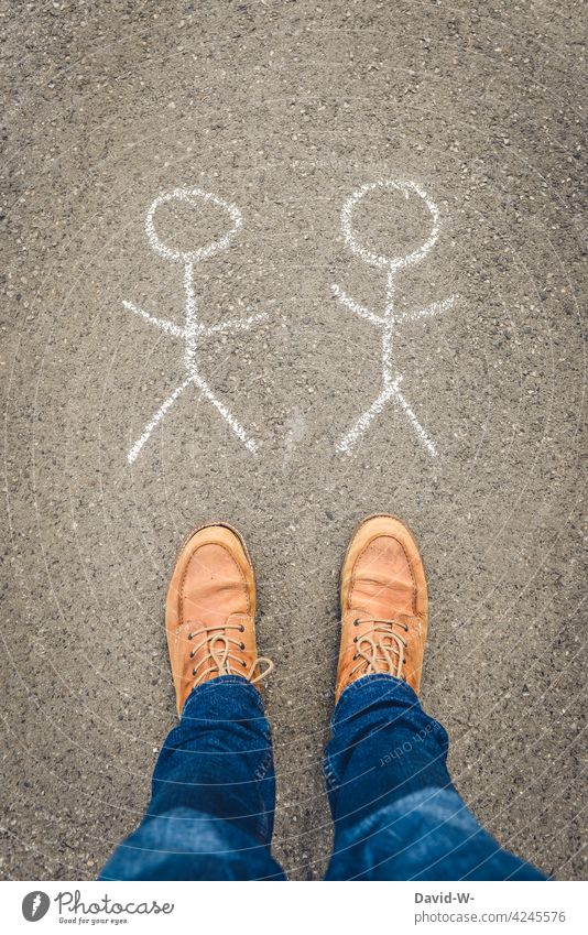 like men - homosexuality Homosexual gay Love masculine thoughts Couple same sex bisexual Longing people Partner Lonely Loneliness Stick figure Chalk pride