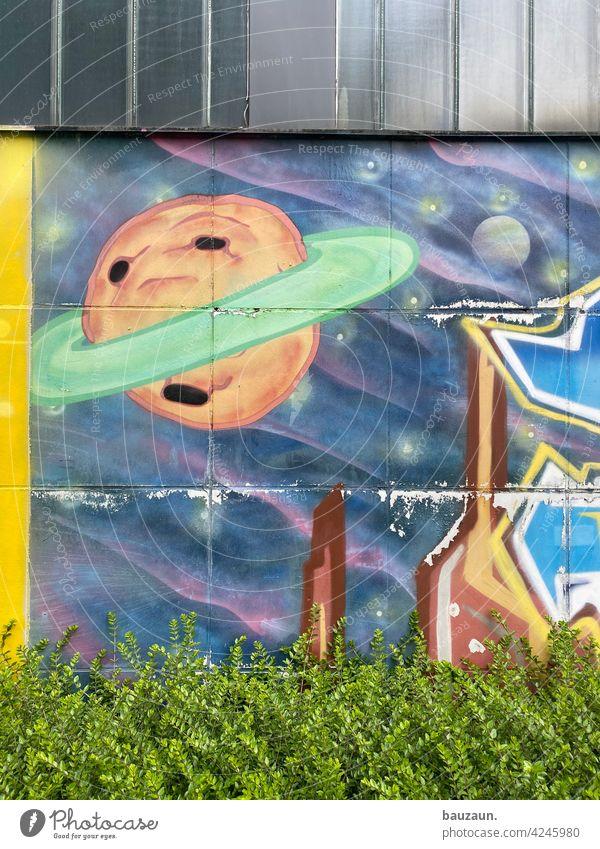 space. Universe Planet Graffiti Astronautics Colour photo Celestial bodies and the universe Astronomy Wall (building) murals facade design Cladding Facade bush