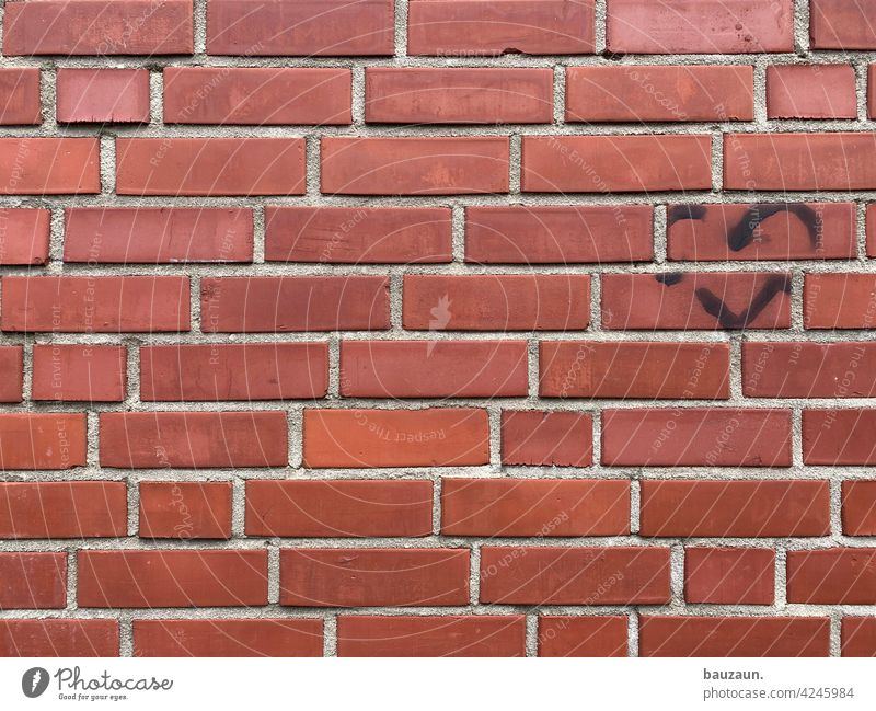 wall love. Wall (building) Love Heart interstices masonry Wall (barrier) brick Brick red bricks Facade facade design Structures and shapes Stone
