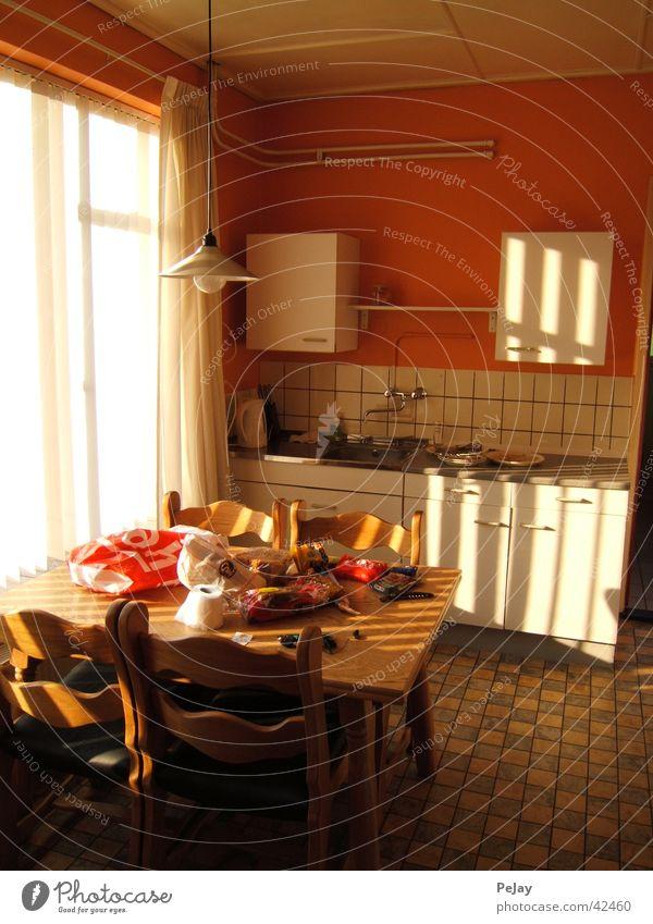flood of light Kitchen Cupboard Table Bright window Shadow Orange