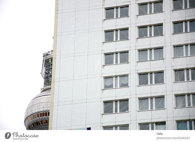Berlin television tower with prefabricated building Television tower Berlin TV Tower apartment building Alexanderplatz Architecture Landmark Sky Capital city