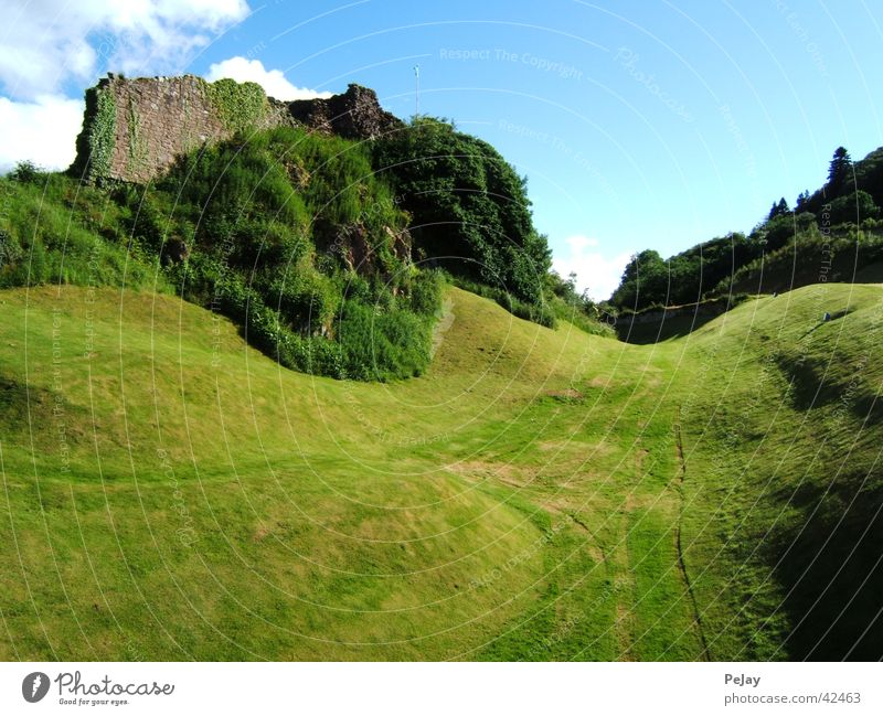 castle ruin Ruin Wall (barrier) Grass Hill Green Mountain Scotland