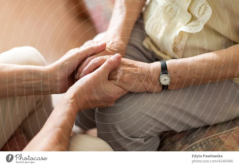 Nurse consoling her elderly patient by holding her hands people woman senior mature casual female Caucasian home house care health healthcare nursing home aging