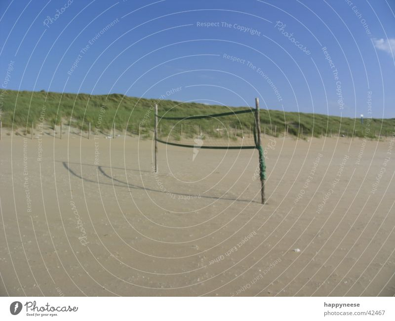 wanna play? Beach Volleyball (sport) Blue Vacation & Travel Deserted Empty Playing field Sports Ball Sand Sky Sun