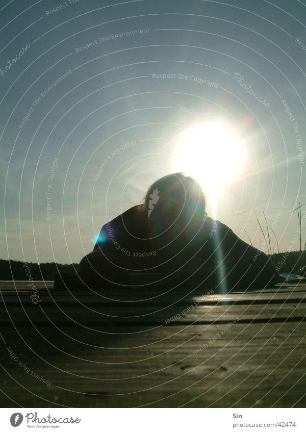 Say hello to the sun Back-light Footbridge Sunbeam Sky Person lying