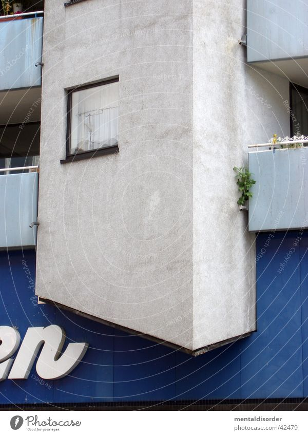 White Blue House (Residential Structure) Window Gray Architecture Facade Cologne Balcony Plaster