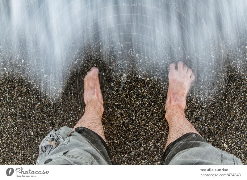 Here comes the tide Vacation & Travel Tourism Summer Summer vacation Beach Ocean Waves Swimming & Bathing Human being Masculine Man Adults Legs Feet 1 Nature