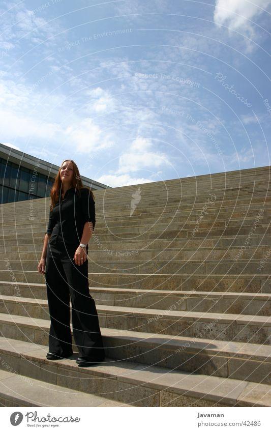Woman Human being Sky Sun Black Dresden Trade fair Exhibition Saxony
