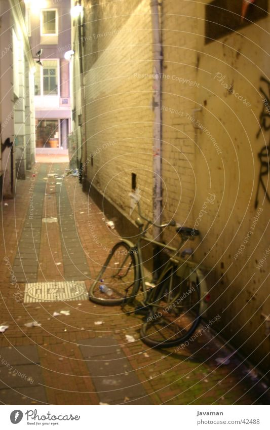 A bicycle in nowhere Amsterdam Night Bicycle Town Netherlands Forget Historic Logistics Dirty