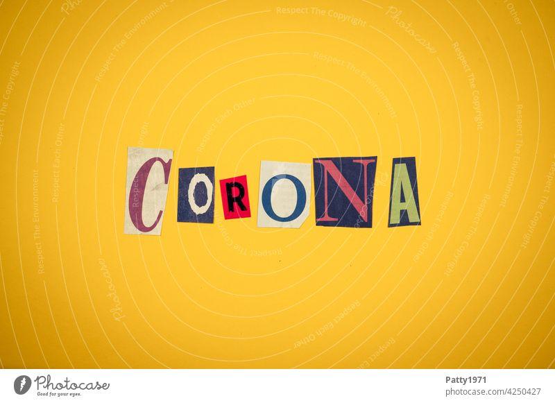 Corona thoughts| Cut out newspaper letters form the word Corona corona Virus pandemic Low-cut Corona virus COVID coronavirus Neutral Background Yellow Anonymous