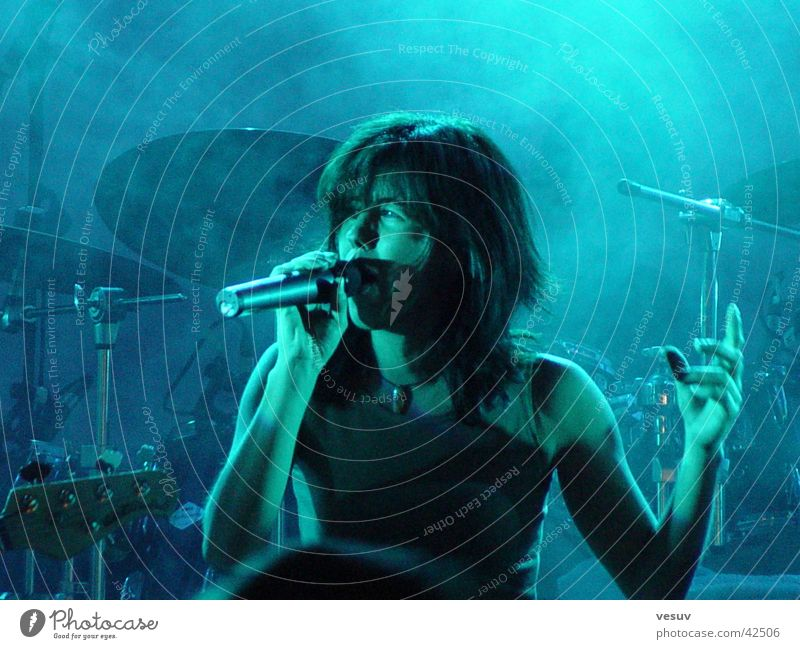 Blue Music Fog Shows Concert String Microphone Sound Reaction Singer Song