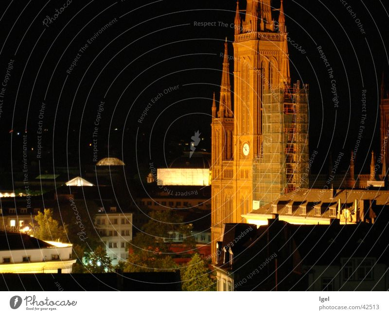 Wiesbaden at night Town Night Lighting Architecture Religion and faith Evening Review