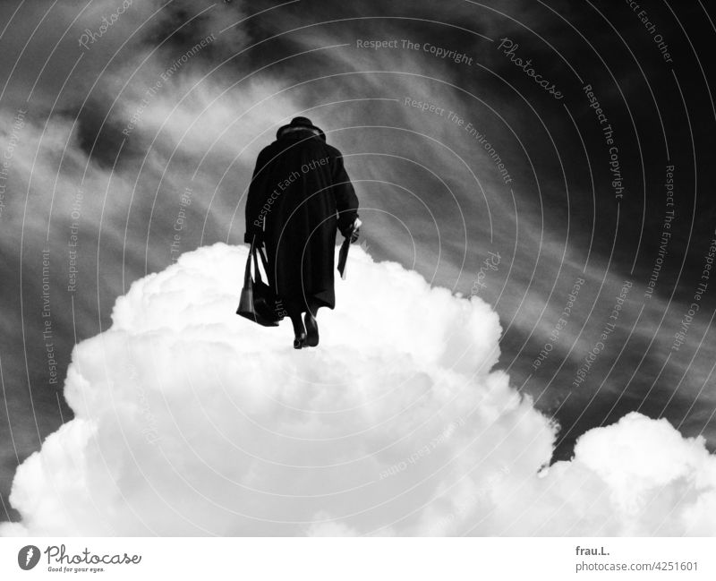 Final return - they will find each other Old travel Montage Woman Coat Hat Crooked Handbag Human being on one's own Photomontage cloud