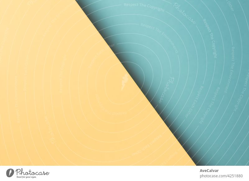 Colorful and minimalist background with blue and yellow pastel colors copy space and modern design wallpaper abstract art composition geometry layout linear pop