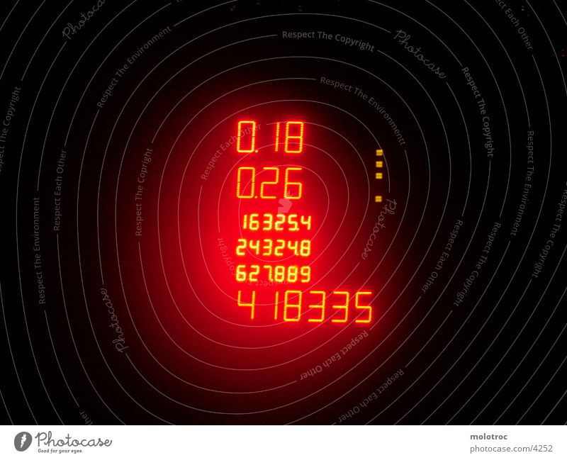 WattNumbers Light Style Digits and numbers Night Red Photographic technology Mud flats Display