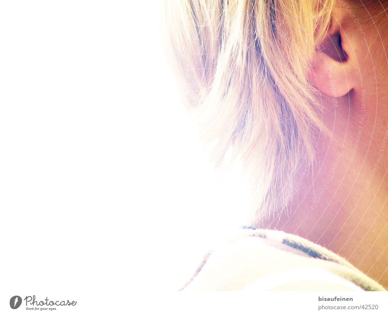 Woman Human being Hair and hairstyles Head Blonde Ear Neck Overexposure