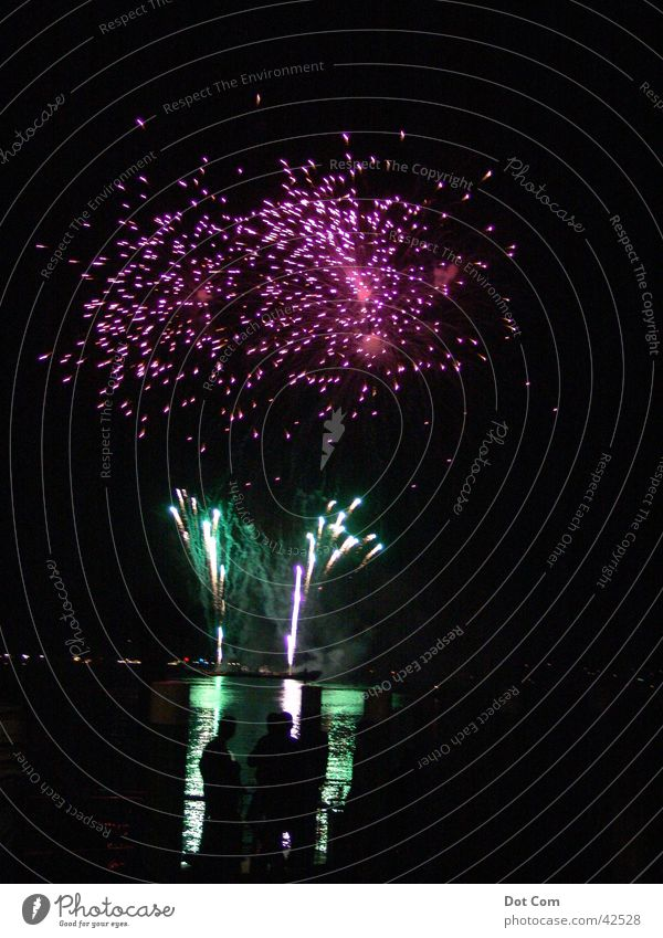 fireworks Green Pink Violet Light Leisure and hobbies Firecracker Night at the Sea Lake Constance Chinese fireworks