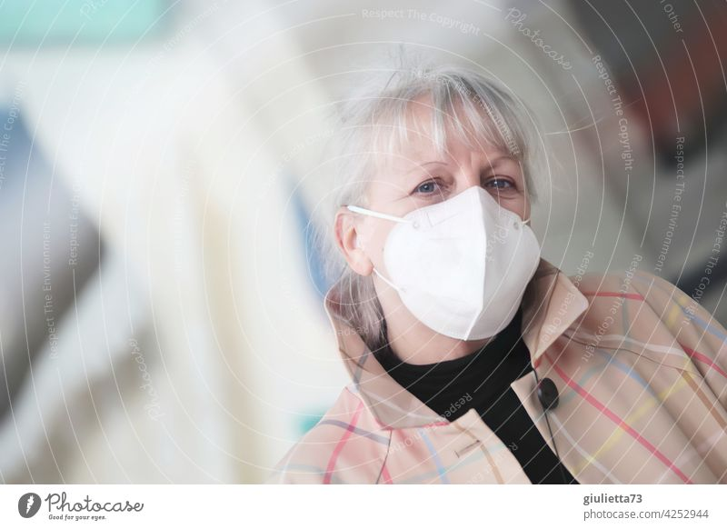 Portrait of a sympathetic, older woman with white hair and FFP2 mask | corona thoughts 1 Human being Adults Senior citizen 45 - 60 years 50-60 years 50+ 60+